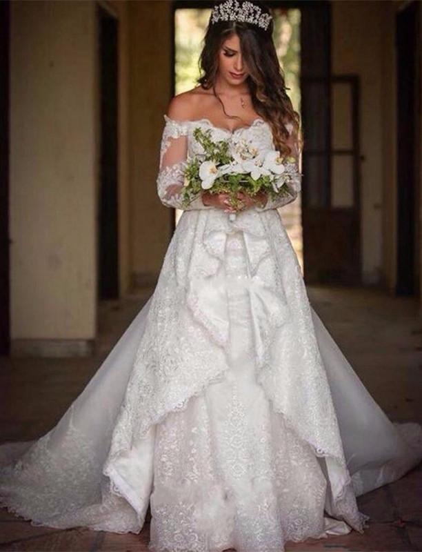 Elegant Long Sleeve Cheap Online Lace Appliques Beautiful Princess Off The Shoulder Wedding Dresses