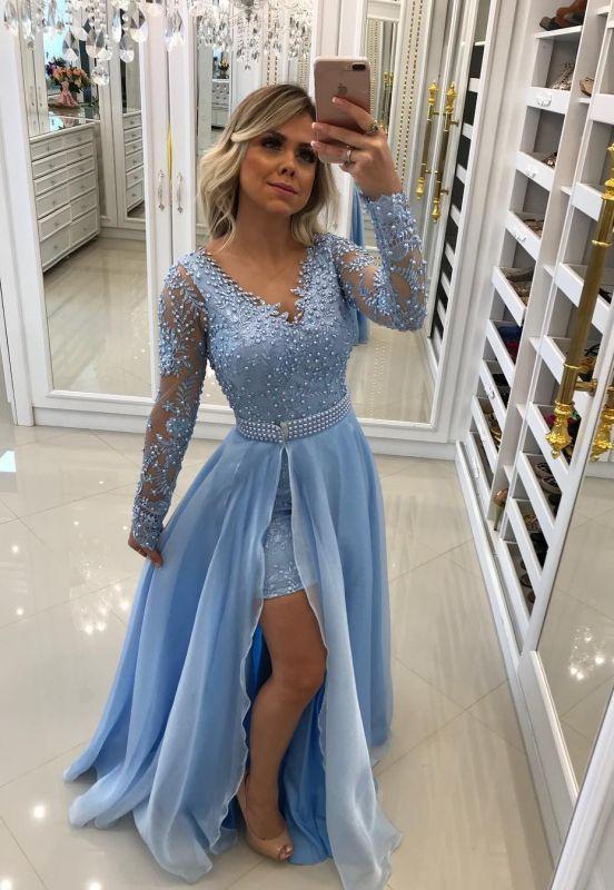 Long Sleeve Sky Blue Formal Dresses   Cheap Lace Long Prom Dress