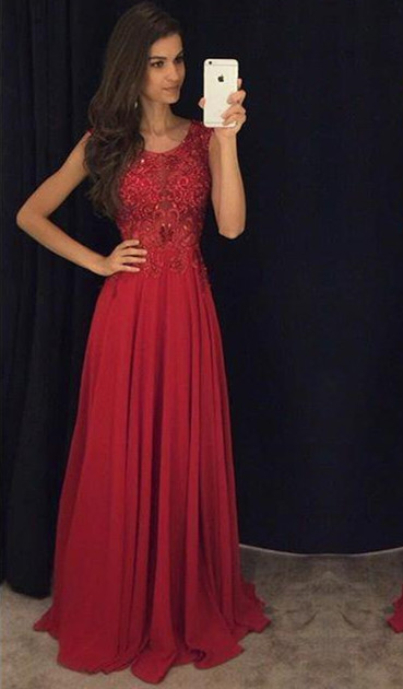 Fit And Flare Sleeveless Red Evening DressesLace Appliques Chiffon