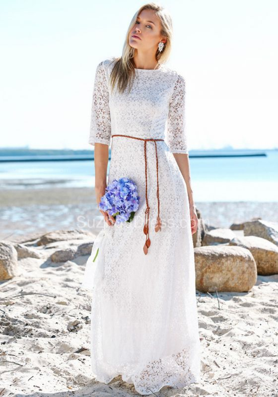 Summer Beach Half Sleeves Lace Wedding Dresses | Cheap Simple Online Bridal Gowns