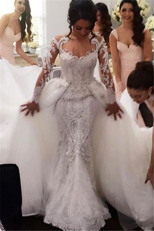 New Arrival Long Sleeves Sheath Wedding Dresses   Lace Appliques Bridal Gowns with Detachable Train