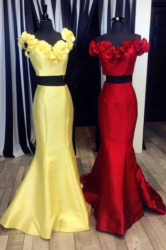 Modest Two Piece Flowers Mermaid Sleeveless Prom Dress