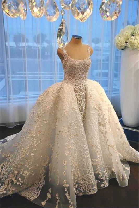 Luxurious Straps Overskirt Sleeveless Wedding Dresses Appliques Ball Gown Bride Dress
