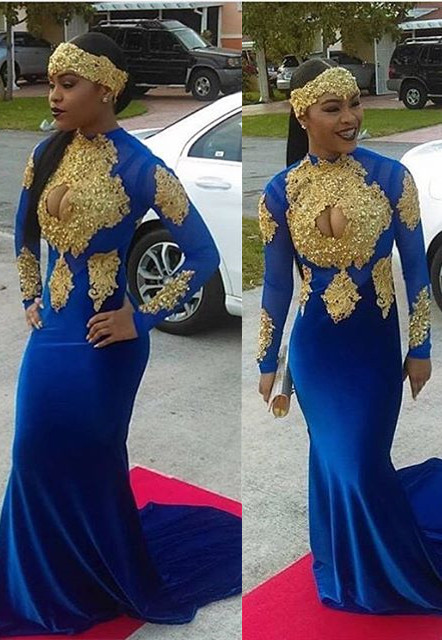 0b75e8dd46d Modern Royal Blue Mermaid Gold Appliques Velvet Prom Dress  Item Code   D153793133302456