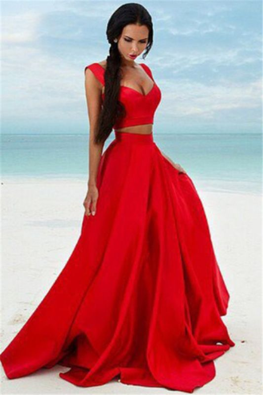 Two Piece Red Formal Dresses Long | Cheap Sleeveless Sexy Prom Dress Online BA7932