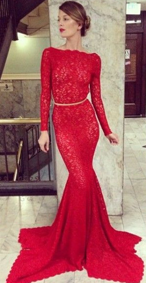 New Arrival Prom Dresses Long Sleeves Sheer Lace Backless Mermaid High Bateau Neck Evening Gowns