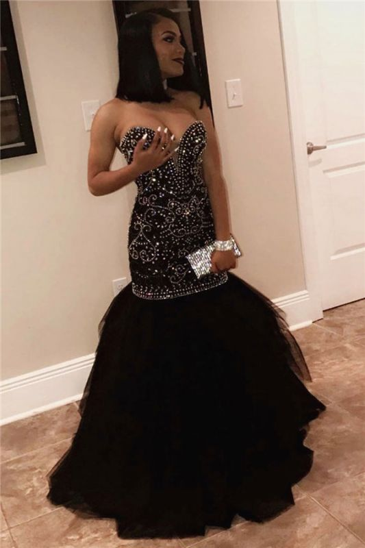 Long Sweetheart Beads Prom Dresses | Mermaid Black Sequins Cheap Formal Gowns FB0275