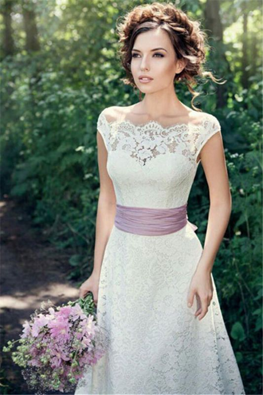 A-line Fulle Lace Outdoor Wedding Dresses Open Back Portrait Bridal Gowns with Lavender Sash BA5059