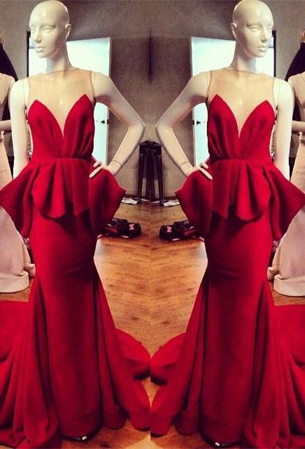 Modest Red Straps Sleeveless Illusion Mermaid Ruffles Prom Dresses Cheap