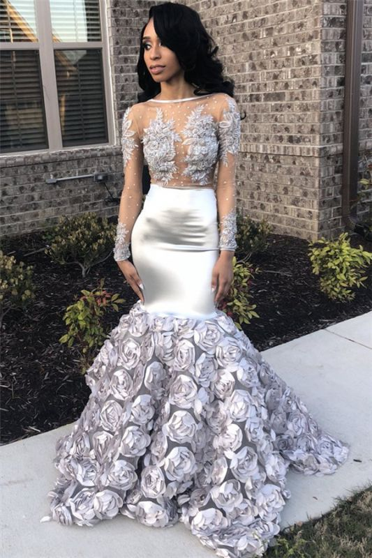 Silver Flowers Long See Through Prom Dresses | Long Sleeve Beads Lace Mermaid Evening Dress FB0371