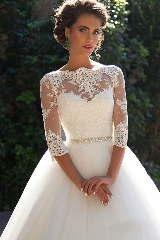 Half Sleeve Ball Gown Wedding Dresses Cheap | Puffy Tulle Lace Appliques Bridal Gowns with Beads Belt