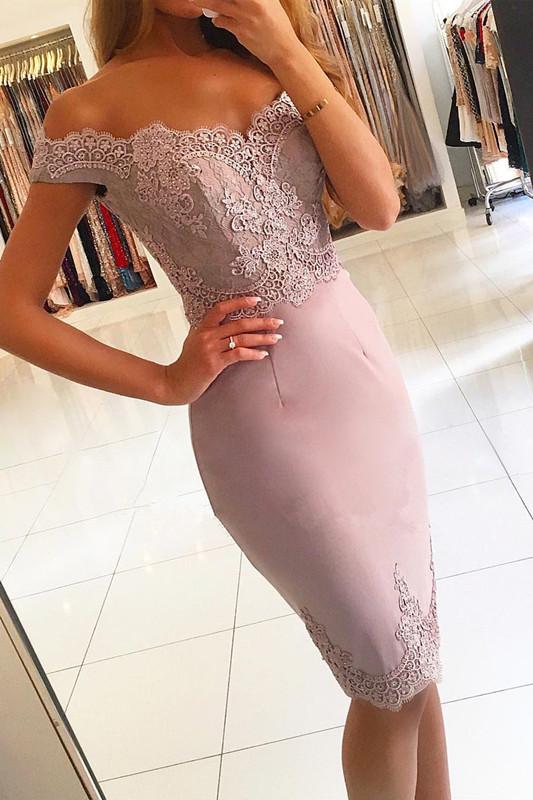 Elegant Off-the-Shoulder Short Prom Dress |Lace Mermaid Homecoming Dress