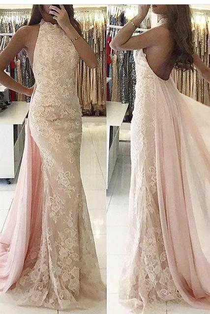 Newest Backless Tulle Halter Mermaid Applqiues Sweep-Train Evening Dress