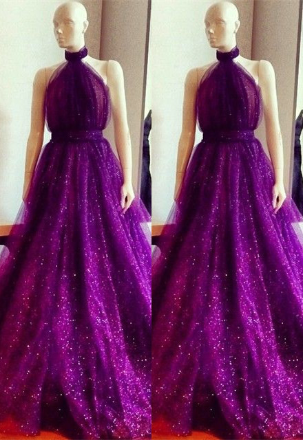 New Arrival High Neck Custom Made A-line Sleeveless Prom Dresses Cheap