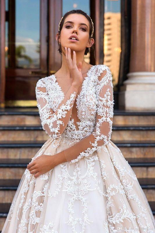 Princess Court Train Glamorous Lace Long Sleeve Wedding Dresses Cheap
