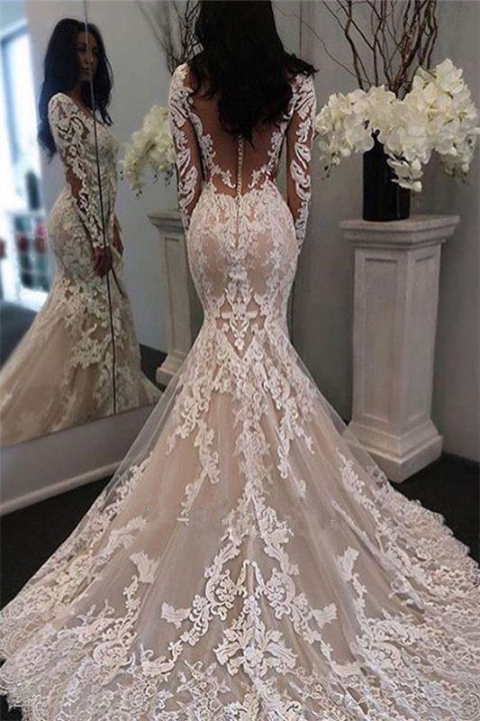 Beautiful Lace Retro Sheer Tulle Gorgeous Long Sleeve Illusion Mermaid Wedding Dresses