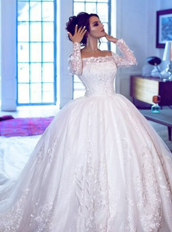 Glamorous Off Shoulder Long Sleeves Wedding Dresses | Lace Brial Ball Gowns