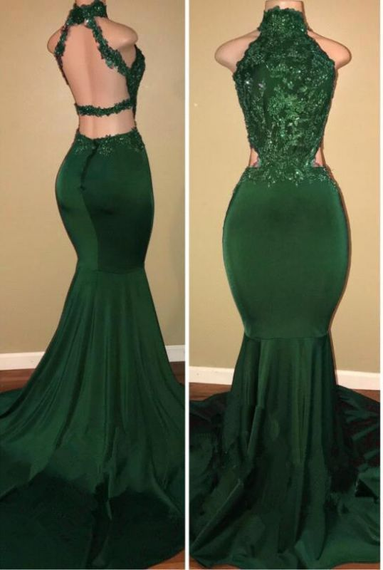 Sleeveless Open Back Mermaid Long Prom Dresses Cheap Plus Size   Lace Formal Dresses for Women