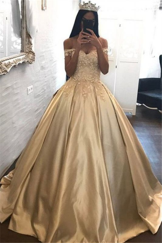 Off The Shoulder Champagne Gold Ball Gowns Formal Dress Appliques Quinceanera Dresses FB0212