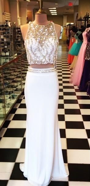 Two Piece White Luxury Beads Long Prom Dresses Cheap Halter Neck Sheath Evening Gowns