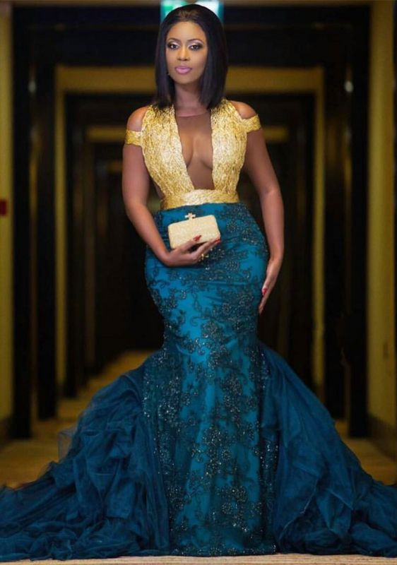 Modern Gold Lace Mermaid Beads Prom Dress   Long Prom Dress BK0 BA8385