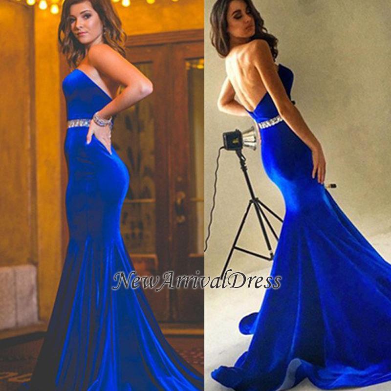 Backless Charming Mermaid Sweetheart Velvet Royal-Blue Crystals-Belt Prom Dress