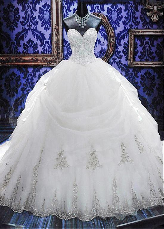 Gorgeous Ball Gown Wedding Dresses with Beads   Sexy Cheap Court Train Bridal Gowns with Bowknot