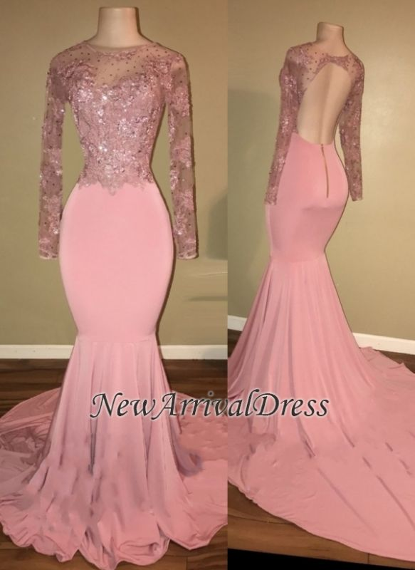 7be9f5f55 Backless Long-Sleeves Beaded Pink Shiny Mermaid Prom Dresses