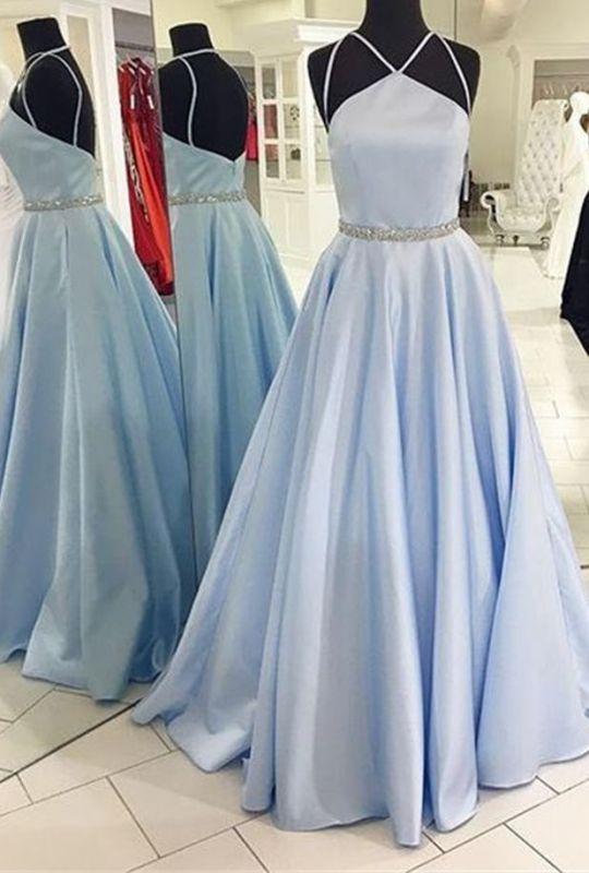 Simple Sky Blue Sleeveless Beads Custom Made A-line Zipper Prom Dresses Cheap