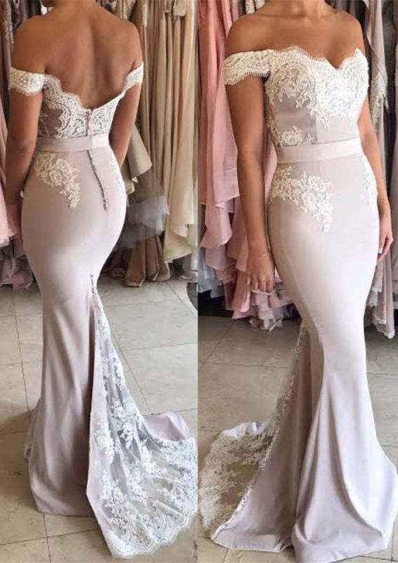 Modest Off-the-shoulder Lace Mermaid Sweep Train Prom Dress BA7854