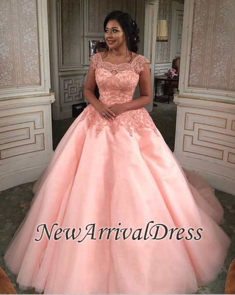 816c34ef021 Ball-Gown Quinceanera-Dresses Newest Lace-Appliques Scoop Cap-Sleeves Chic  Long Prom-Dresses  Item Code  D153431436187727