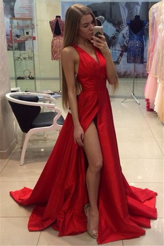 Sexy Side Split Prom Dresses Cheap V-neck Stretch Satin Formal Gowns CE0015