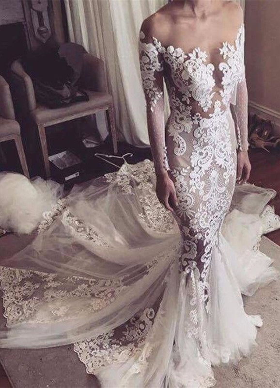 Appliques Glamorous Tulle Mermaid Long Sleeve Sexy Wedding Dresses Cheap Online
