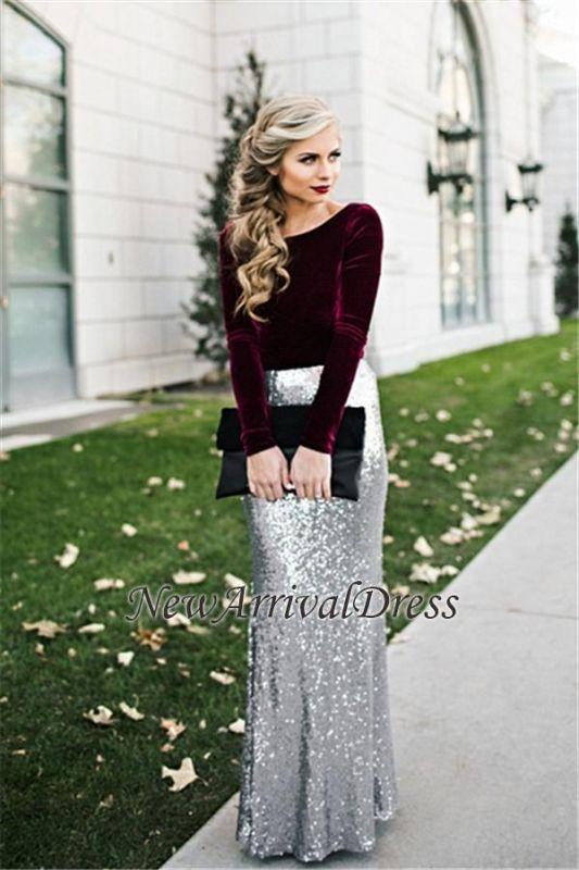 Sheath Winter Velvet Latest Sequins Burgundy Sleeves Silver Long Evening Dresses