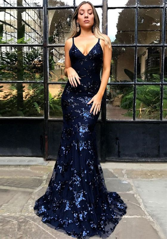 Sexy Spaghetti Strap Lace Sleeveless Formal Gowns | Lace Up Open Back Navy Blue Prom Dresses BA7489