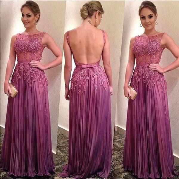 Ruffles A-Line Elegant Appliques Backless Sleeveless Prom Dresses