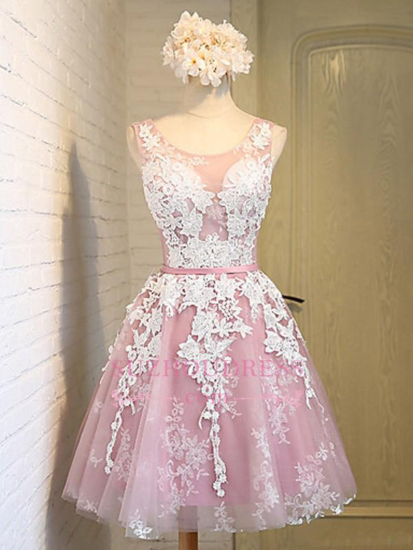 Lace-Up Open Back Sleeveless Appliques Sash Pink Jewel Lace Sexy Short Homecoming Dresses