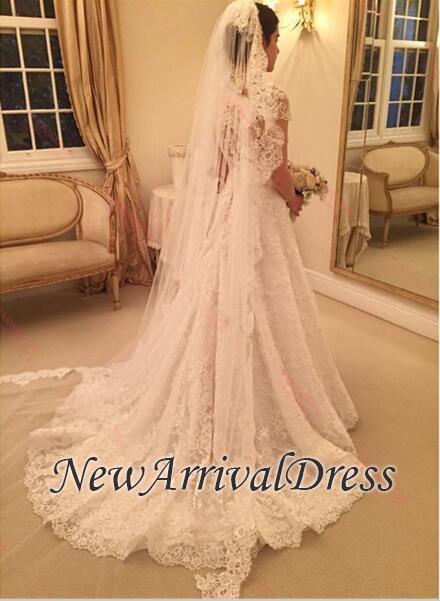 Newest Wedding Dress.A Line Short Sleeve Zipper Sweep Train Lace Newest Wedding Dress