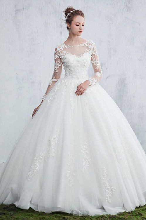 Gown Long Sleeve Ball New Arrival Lace Jewel  Elegant Wedding Dresses