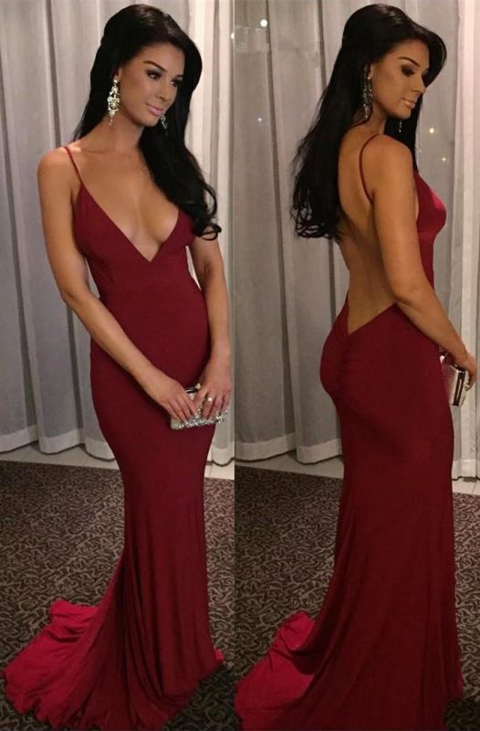 Sexy Spaghetti Straps Mermaid Formal Dress | Burgundy Long Deep-V-Neck Prom Dresses