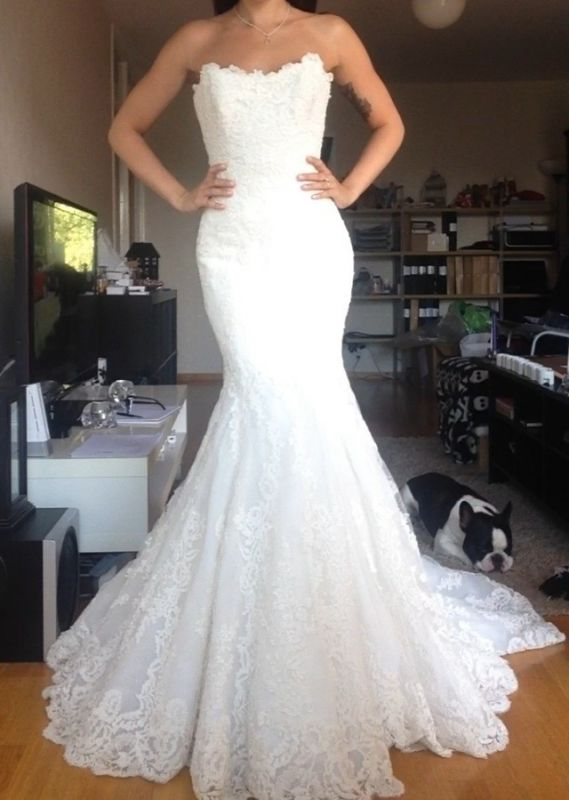 Strapless Tulle Appliques Simple  Buttons Wedding Dresses Cheap Online