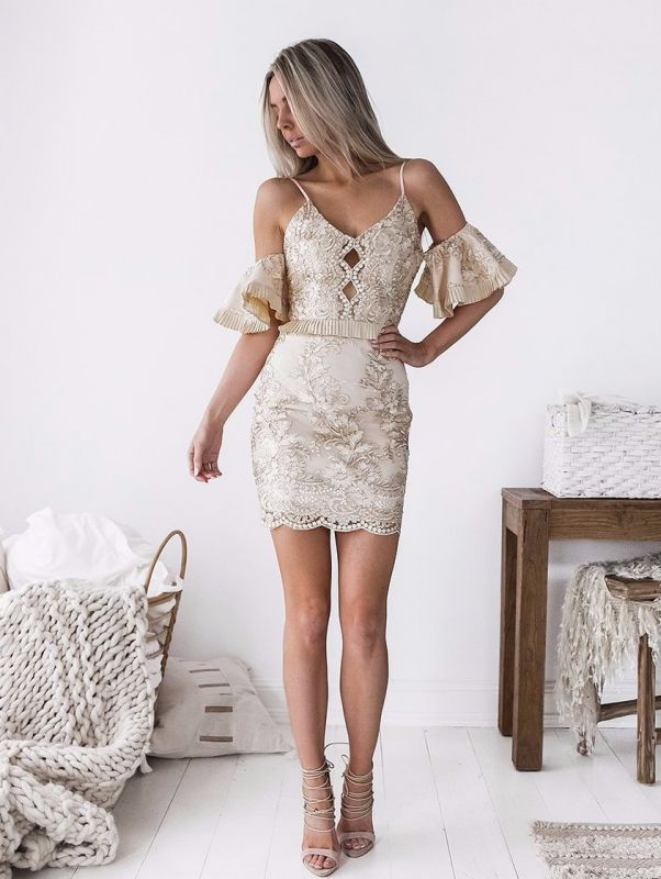 Sexy Spaghetti Strap Bodycon Short Homecoming Dress | Mini Cocktail Gown