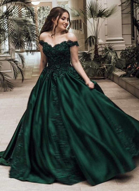 c9b0e84ef5 Elegant Dark Green Puffy Prom Dresses