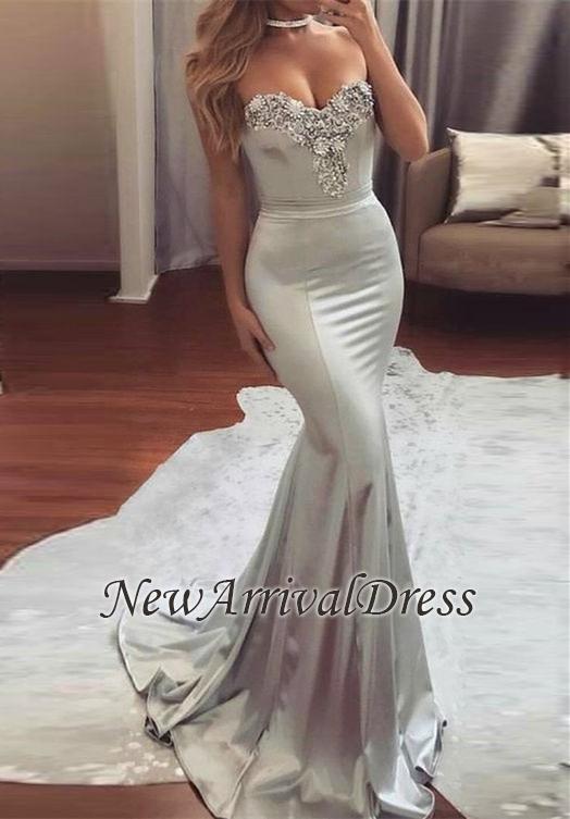 Mermaid Beading Mermaid Sweetheart-Neck Long Silver Shiny Prom Dresses