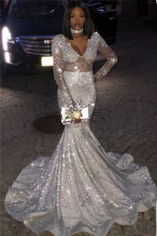 Unique V-Neck Long Sleeves Sequins Sexy Mermaid Floor-Length Prom Dresses
