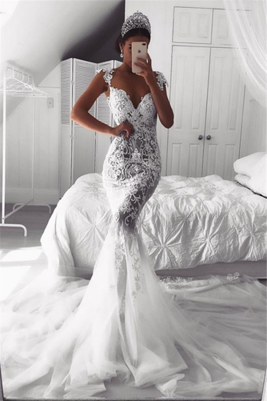 Beautiful Lace Mermaid Straps Cap Sleeve Wedding Dresses | Modest Online Cheap Bridal Gowns BA9614