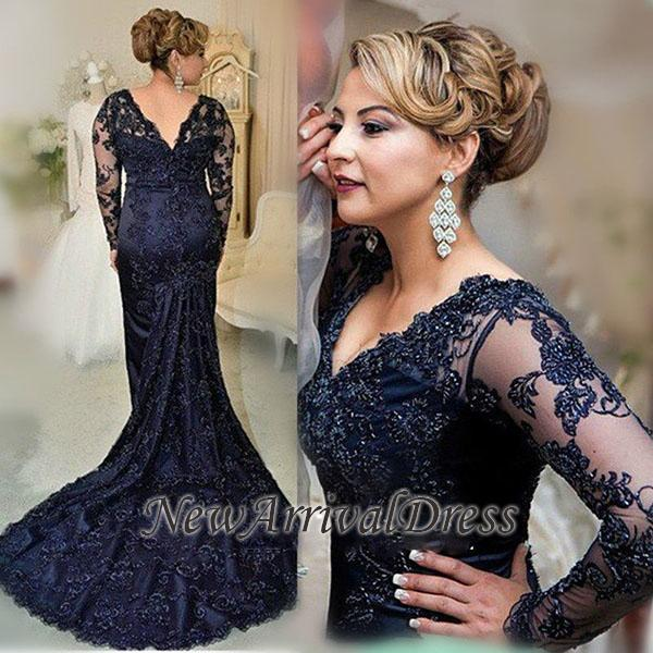 7b6cc5a66ae Zipper Lace Navy Appliques Gorgeous Sweep-Train Long-Sleeve Evening Dress   Item Code  D153413449313714