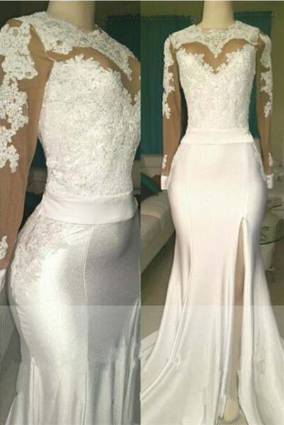 Open Back Long Sleeve White Long Prom Dresses Cheap | Mermaid Lace Formal Dresses with Sleeves