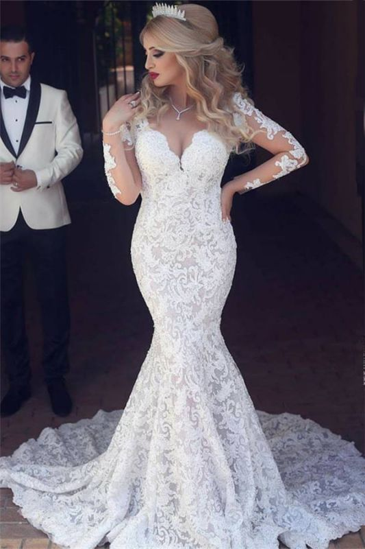 Long Sleeve Mermaid Lace Wedding Dresses Cheap Sexy Open Back V-neck Classic Bridal Gowns