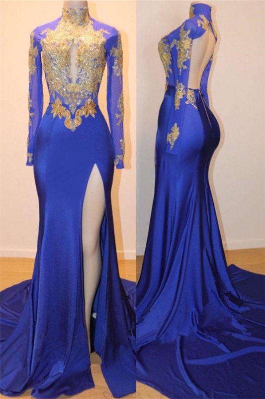 Robe de bal sexy dos bleu appliques bleu royal doré | 2020 Robe de soirée pas chère à manches longues et fente latérale